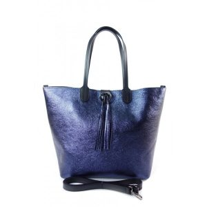 Duża torba Shopper Bag na ramię Vera Pelle  Blue  SB599BS